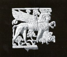 Openwork plaque with a sphinx wearing a double crown Date: ca. 9th–8th century B.C. Geography: Mesopotamia, Nimrud (ancient Kalhu) Culture: Assyrian Medium: Ivory The Metropolitan Museum of Art.