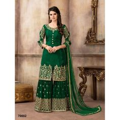 Buy Pakistani Suits online from Tithli Fashion. Shop from a fascinating collection of Pakistani Shalwar Kameez & Designer Suits. Divine Maroon Color Pure Viscose Upada Silk Embroidered Party Wear Pakistani Suit Make heads turn by donning this splendid ma Designer Kurtis, Pakistani Designer Suits, Pakistani Dress Design, Pakistani Bridal Dresses, Indian Dresses, Indian Outfits, Salwar Kameez, Sharara Suit, Churidar