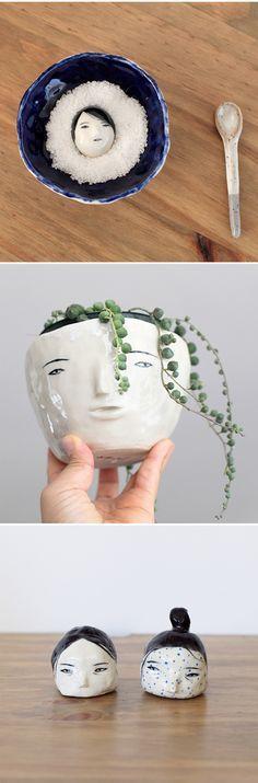 Ceramics heads by Rami Kim  * interesante el detalle de los rostros * me gusta como se adapta a diferentes situaciones