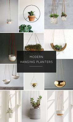 round up of beautiful and modern hanging planters to help add a pop of greenery to your space!A round up of beautiful and modern hanging planters to help add a pop of greenery to your space! Hanging Plants Outdoor, Indoor Plant Wall, Hanging Plant Wall, Hanging Planters, Indoor Plants, Air Plants, Indoor Gardening, Indoor Herbs, Diy Planters