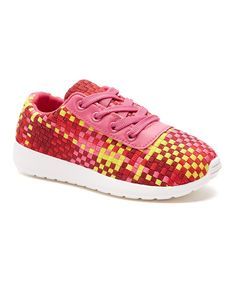 Fuchsia & Yellow Check Sneakers
