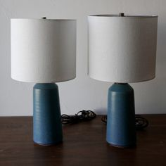 Image of Pair of Matte Turquoise Lamps with Hand-Carved Pinstripe