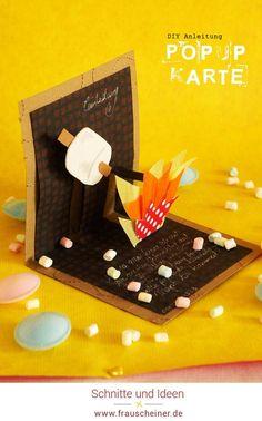 DIY Popup Karte für Marshmallow Party am Lagerfeuer, Diy Idee für Einladungskarte zum Geburtstag, Feste und Feiern, Basteln, Feuer, Kindergeburtstag, Pfadfinder, Klappkarte, Anleitung #Marshmallow #Popupkarte #Geburtstag Popup, Partys, Marshmallow, Blog, Paper Mill, Scouts, Card Crafts, Pop Up, Marshmallows