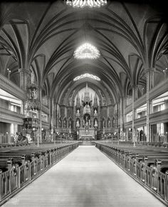 "Circa 1900. ""Main altar, Church of Notre Dame, Montreal, Quebec"