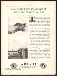 1930 WRIGHT Aircraft Engines Biplane Vintage Plane AD Aviation Advertising