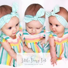 Blue Baby Headband / Baby Shower Gift / Blue Polka Dot Headband / Jersey Headband / Baby Girl Gift / Infant Headband / Cute Baby Headband Baby Outfit of the Day - We paired our Little Daisy Dot 'Dukegg Blue Polkadot Baby Headband' with this adorable trapeze top and cream leggings both from Baby Gap