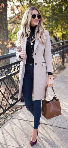 #winter #outfits beige blazer and blue denim jeans