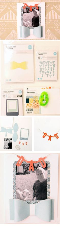 Bow Tie + Banner | Click Pic for 21 Easy Homemade Fathers Day Cards to Make | DIY Birthday Cards for Dad from Daughter