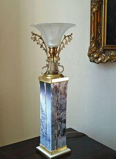 Art deco antike decken lampe 5arm messing malachit um 1940 for Tisch design andrea