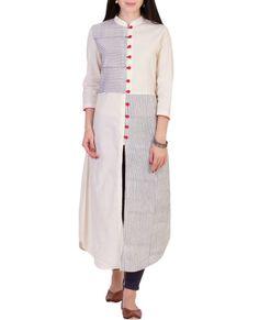 Shop online Blue and white stripped tunic Blue and white stripped muslin tunic with red buttons Salwar Designs, Blouse Designs, Indian Designer Outfits, Indian Outfits, Fancy Kurti, Kurta Style, Iranian Women Fashion, Kurti Patterns, Nursing Dress