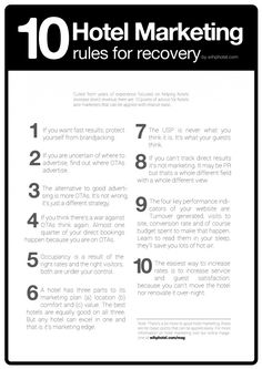 """""""10 Hotel Marketing rules for recovery and direct bookings"""" Oct-2012 #hotelmarketing #infographic"""