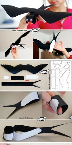 """Black Cardboard SWALLOW This is the bird that appears in the book """"Song of the Swallow."""" This is a good idea for children to see what a swallow looks like. Kids Crafts, Projects For Kids, Diy For Kids, Diy And Crafts, Arts And Crafts, Diy Paper, Paper Crafts, Paper Art, Tissue Paper"""