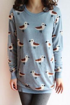 Adorable blue bird print sweater