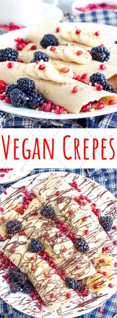 This easy vegan crepe recipe is the best egg free and dairy free breakfast option! Sweet, vanilla crepes made with just a few simple ingredients! #vegancrepes #vegancreperecipe #healthyvegancrepes #easyvegancrepes