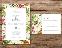 Tropical Wedding Invitation Hawaiian Wedding Invitation by AlexaNelsonPrints on Etsy Destination Wedding Invitations, Wedding Stationary, Wedding Invitation Cards, Wedding Cards, Destination Weddings, Wedding Verses, Carton Invitation, Invitation Envelopes, Invitation Wording