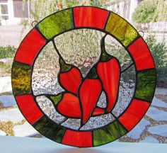 Red Peppers Stained Glass Sun Catcher by PinwheelStainedGlass Faux Stained Glass, Stained Glass Projects, Stained Glass Patterns, Stained Glass Windows, Spoon Art, Glass Texture, Glass Design, Glass Ornaments, Mosaic Glass