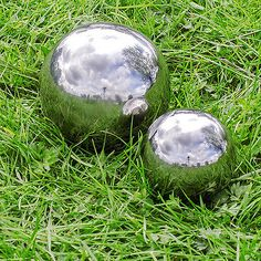 Two spheres 9 & 13cm mirror #gazing ball #garden #ornaments,  View more on the LINK: http://www.zeppy.io/product/gb/2/361313392574/