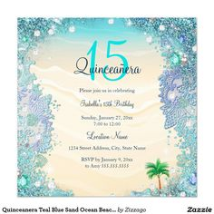 Quinceanera Teal Blue Sand Ocean Beach Birthday 5.25x5.25 Square Paper Invitation Card