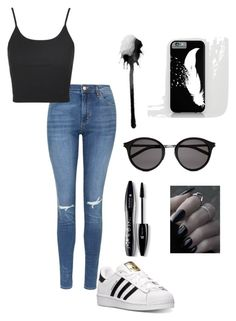 """""""Untitled #2"""" by mariellaghanem ❤ liked on Polyvore featuring Topshop, adidas, Yves Saint Laurent and Lancôme"""