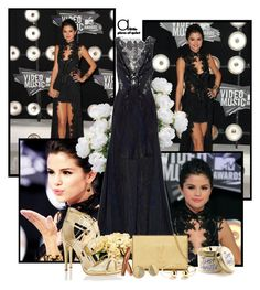"""Selena Gomez"" by rfultrastars ❤ liked on Polyvore featuring Julien Macdonald, Yves Saint Laurent, Diane Von Furstenberg, Kate Spade, gold, black, selenagomez and blackdress"