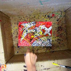 great idea to put canvas in a box first and then have them do the jackson pollack flings of paint (use squirt bottles!)