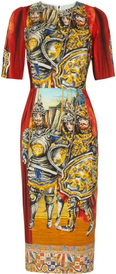Dolce  and  Gabbana  Printed Crepe Dress - Lyst