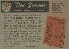 1955 Bowman #65 Don Zimmer Back