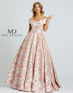 Pink delicate brocade wraps this garment in an age of timeless beauty. Off the shoulder semi sweetheart neckline contours the bodice for the most elegant fit on this ball gown. Prom Girl Dresses, Mac Duggal, Jumpsuit Dress, Formal Gowns, True Beauty, Timeless Beauty, Off The Shoulder, Ball Gowns, Soft Waves