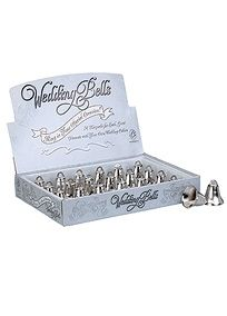 "The miniature wedding bells can be used as decorations or as a favor for your guests. Features and Facts:  Sold in package of 24.   Measures: 1 1/2""."