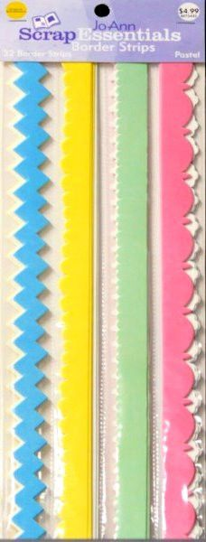 JoAnn Essentials Pastel Die-cut Border Set is available at Scrapbookfare.com.