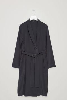 COS image 7 of Silk blazer dress in Steel Blue