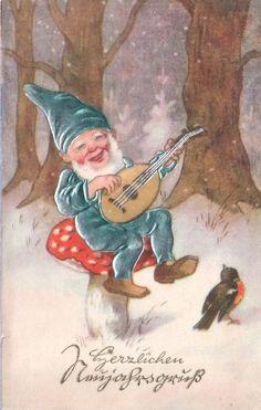 Embossed chromolitho card blue / silver plated costume gnome dwarf on mushroom