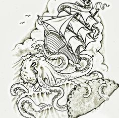 the octopus and ship art tattoo - Google Search