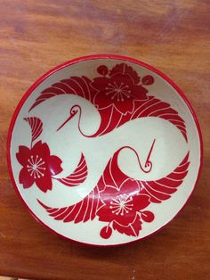Red Cranes and Cherry Blossoms Ceramic Bowl by VibrantCeramics, $45.00