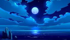 Buy Full Moon Night Ocean or Sea Landscape Moonlight by vectorpouch on GraphicRiver. Full moon night ocean or sea landscape. Starry sky with clouds and moonlight reflection in dark water surface, romant. Aesthetic Desktop Wallpaper, Anime Scenery Wallpaper, Wallpaper Pc, Computer Wallpaper, Galaxy Wallpaper, Wallpaper Backgrounds, Abstract Backgrounds, Animes Wallpapers, Cute Wallpapers