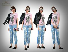 LOOKBOOK #153 : Casual II• Gucci t-shirt: [x] by @neutralsupply • Boyfriend jeans: [x] by @hfs-sims4 • Leather jacket: [x] by @candycanesugary • Sunglasses: [x] by @leahlillith • Wallet: [x] by @inabadromance • Gucci fur slippers: [x] by @theslyd