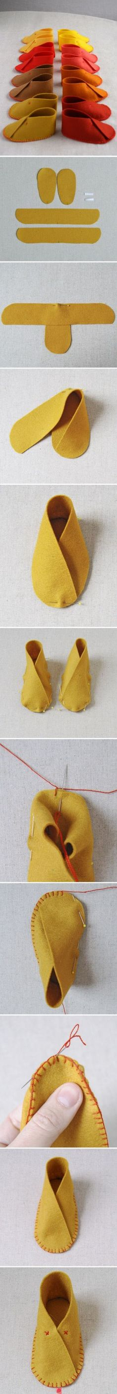 felt booties: + Add a loop on one side and a button on the other, as a fastener. Or, a ribbon going around the entire ankle, as a tie fastener.