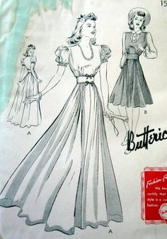 A gorgeous Butterick evening gown pattern from the 1940s!