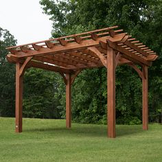 Cedar Pergola – Backyard Discovery. One's in our backyard, and it was a fairly well-made kit. Nice pungent cedar smell!