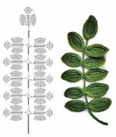 Crochet Flower Patterns Part 1 - Beautiful Crochet Patterns and Knitting Patterns Crochet Leaf Patterns, Crochet Leaves, Crochet Motifs, Crochet Diagram, Crochet Designs, Crochet Doilies, Crochet Ideas, Crochet Feather, Knitting Patterns