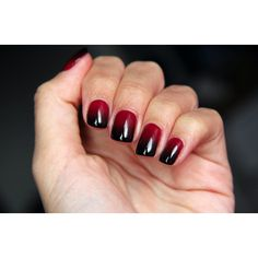 Wine red/black gradient nails ❤ liked on Polyvore featuring beauty products, nail care, nail polish, nails, makeup, beauty and unhas