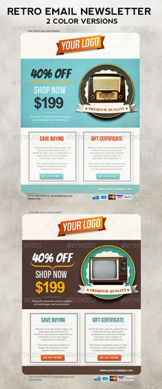 Retro Newsletters for E-commerce Businesses #graphicriver #template #newsletter $4