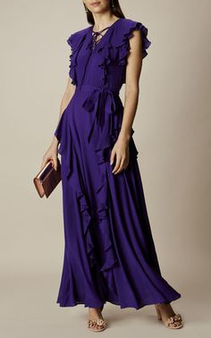 Karen Millen, RUFFLE AND LACE-UP MAXI DRESS Purple
