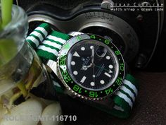 Rolex Green GMT-116710 on MiLTAT 20mm G10 military watch strap ballistic nylon school look armband - Green & White, Brushed [20A20BZZ00N2P11]