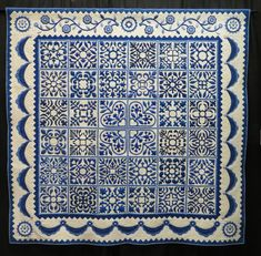 Sarah's Revival in Blue by Gail Smith, quilted by Karen McTavish.  Photo by Cathy Geier's Quilty Art Blog: Shipshewana Quilt Festival 2015
