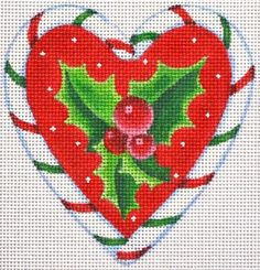 The Candy Cane Heart Series is six needlepoint Christmas canvases by Pepperberry Designs available from the Needle Nook of La Jolla.