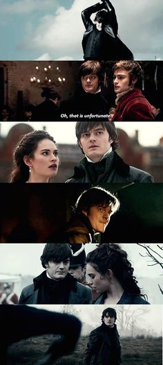 Lily James (Lizzy) and Sam Riley (Darcy). Pride and Prejudice and Zombies.