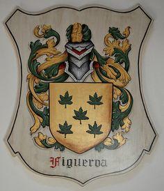 Cresta de la familia placas - LG. escudo madera placas viejo mundo estilo