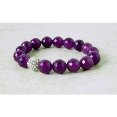 Purple Agate Bracelet Dark Purple Bracelet Bling Ball Pave Amethyst... (610 ARS) ❤ liked on Polyvore featuring jewelry, bracelets, msbsdesigns, bohemian jewelry, purple bangles, gemstone jewelry, boho jewellery and boho jewelry
