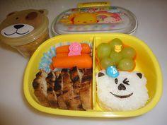 Bento School Lunches: Bento Lunch: Bear onigiri,grilled chicken 11-10